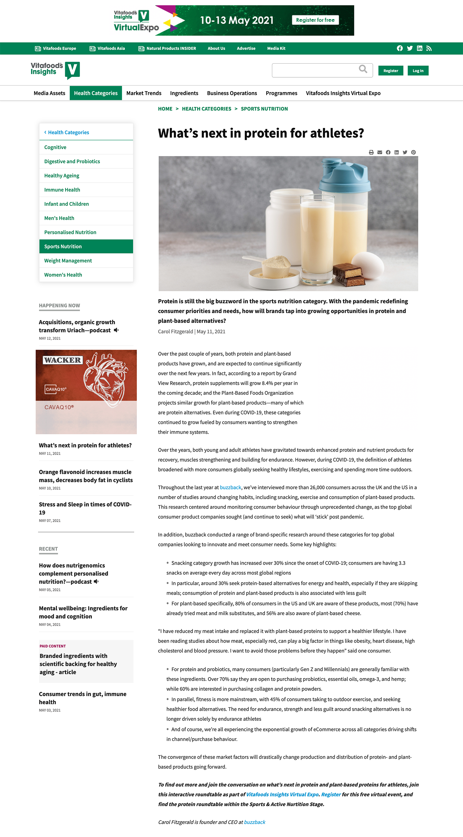 Vitafoods Insights - Whats next in protein for athletes