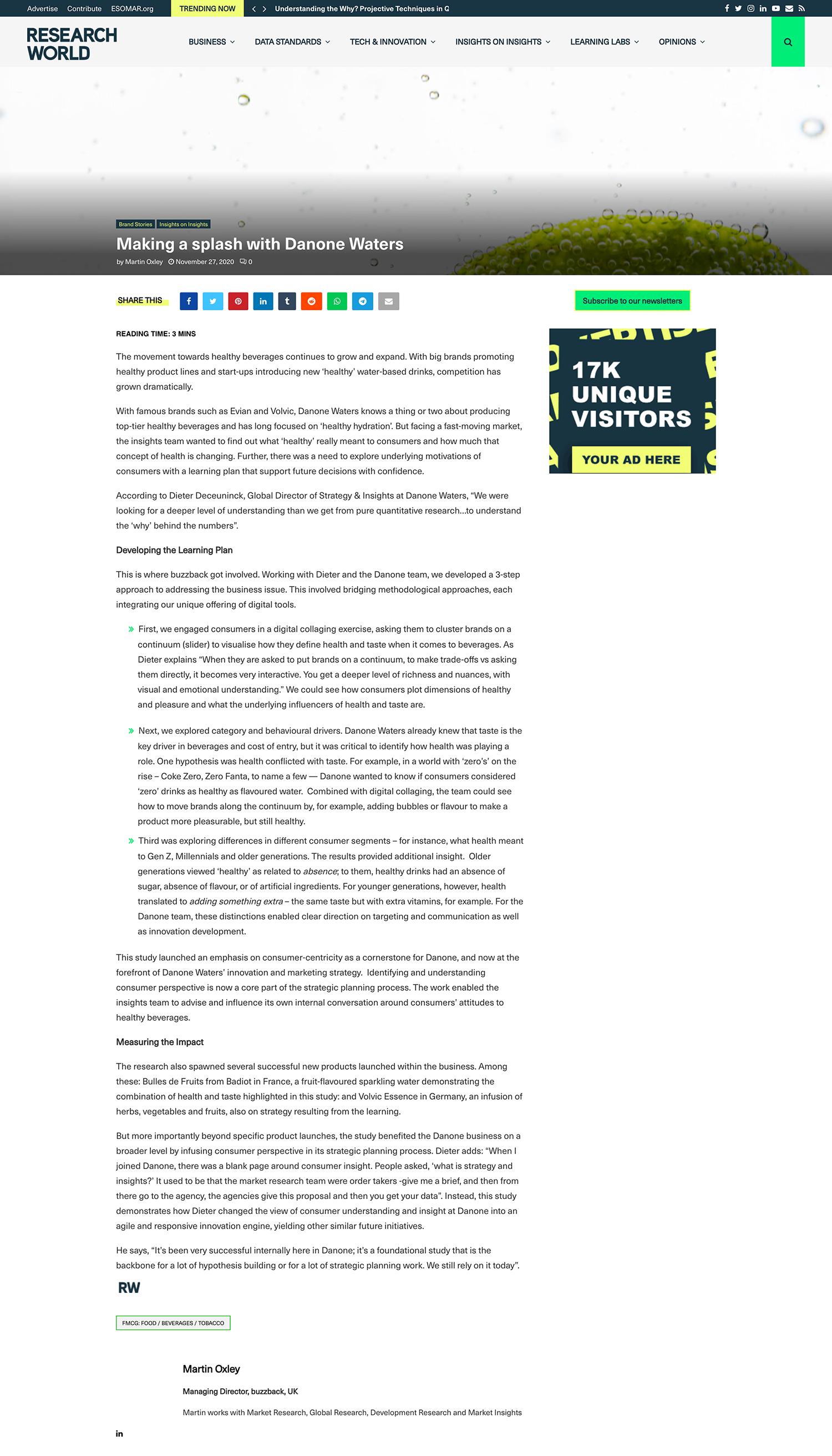 Research World Danone coverage